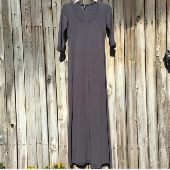 Splendid Dresses & Skirts - Splendid 3/4 Roll Sleeve Maxi Dress Grey XS